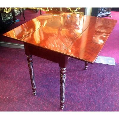 Table d'Appoint à Volets et tiroir En Acajou ép Napoléon III