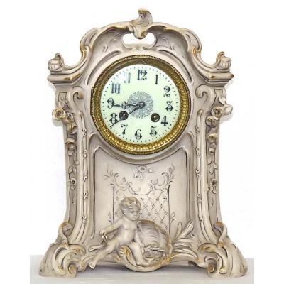 Grande Pendule En Porcelaine Art Nouveau Signée Royal Dux Bohémia