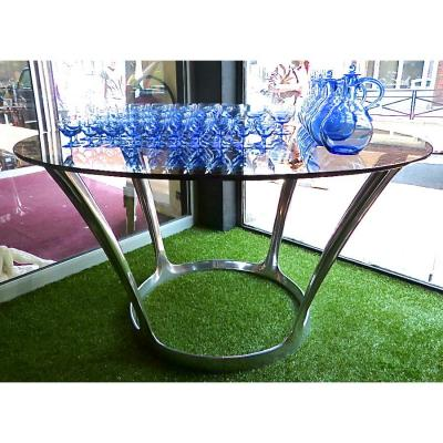 Grande Table Design Michèle Charron époque 1970 Fonte d'Aluminium Et Verre Fumé