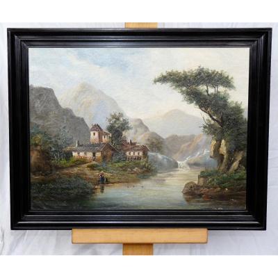Ecole Suisse Nineteenth Time - Oil Painting On Canvas - Landscape