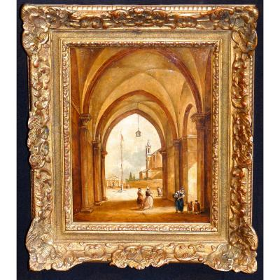 Painting On Wood Venetian School Nineteenth Stamp And Wax Brand Freemason