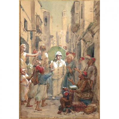 Beautiful Watercolor Orientalist Nineteenth Monogrammed Eb