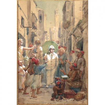 Belle Aquarelle Orientaliste XIXe Monogrammée E.B