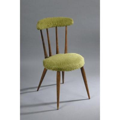 Pair Of Chairs Moumoute Era 1960 Feet Wood Cerusé