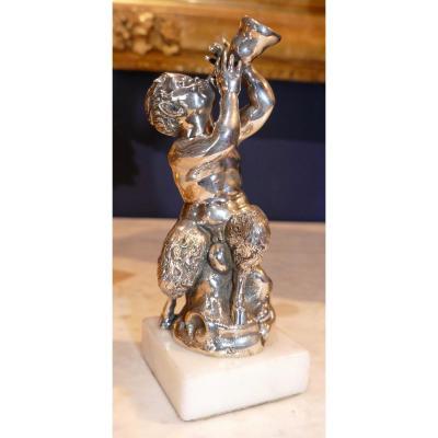 Rare Sculpture En Argent Massif Signée Par Luigi Avolio à Naples Représentant Un Satyre