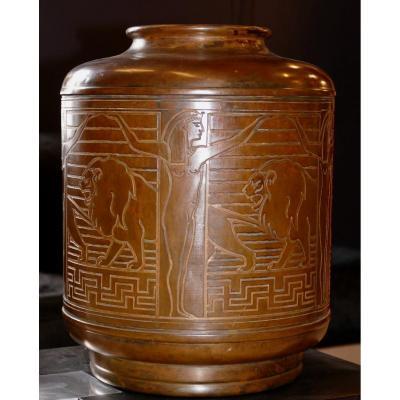 Rare Grand Vase Lampe Dinanderie Signé Théodore Chanut époque 1920 Décor Orientaliste