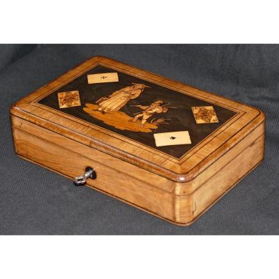 Italy 1860 Marquetry Box Game With Tokens