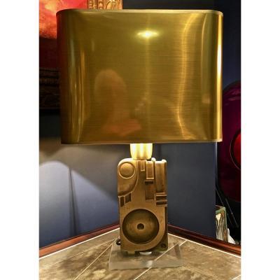 Rare Lampe Sculpture En Bronze Signée Giuseppe Calonaci , Datée 1971 et éditée à 300 exemplaire