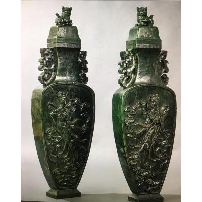 Monumental Pair Of Vases In Jade Height 1m Weight 103 Kg Decor Guanyin Dragons Dogs Of Fo
