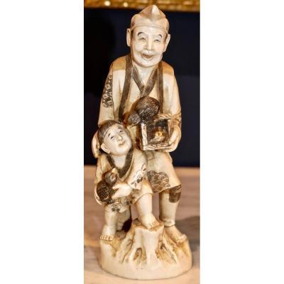 Okimono En Ivoire Du Japon Signé époque Meiji Le Marchand d'Oiseaux