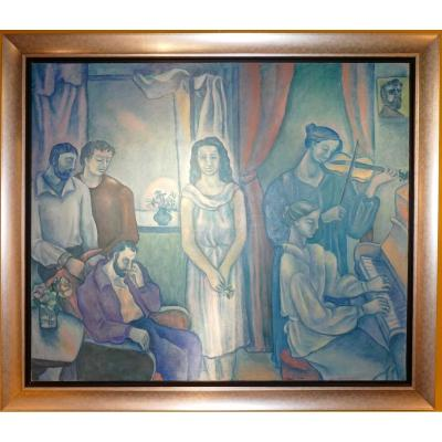 Very Large Painting Signed By Irina Makarova Vycheslavsky And Dated 1978 Russian School