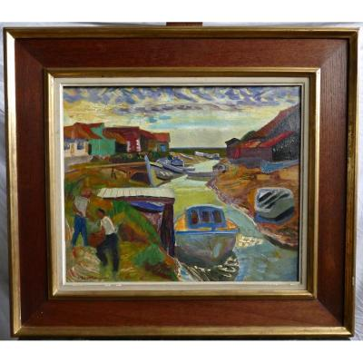 Oil On Canvas Signed Berthommé Saint André From 1952