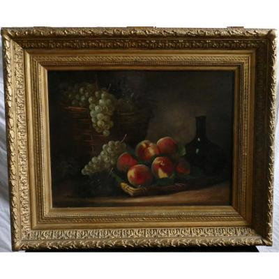 Beautiful Still Life Painting With Peaches And Grapes Signed Philippe Rousseau Around 1850