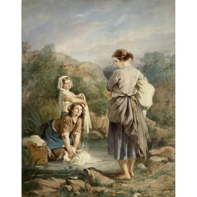 Beautiful Large Watercolor Signed By Théophile Adolphe Midy Around 1850