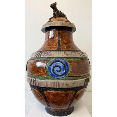 Céramique Monumentale Signée Par Thomas Frey Grand Vase Couvert  époque 1987 Décor Au Chat