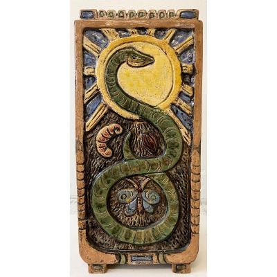 Grand Vase Céramique Signé Par Thomas Frey époque 1975 Décor Cigogne Serpent Et Insectes