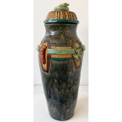 Grand Vase Couvert En Céramique Signé Par Thomas Frey époque 1976 Décor Serpent Et Insectes