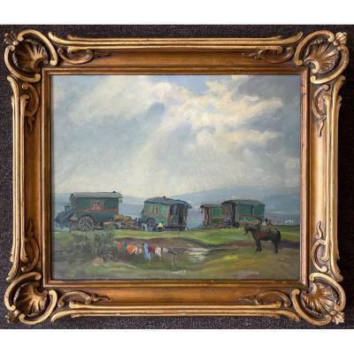 Beautiful Painting French School 1940 Representing A Gypsy Camp