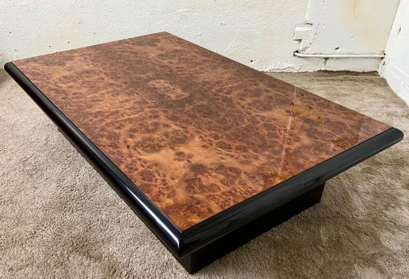 Belle Table Basse Design Jean-pierre Mesmin Années 80 En Loupe d'Orme Et Bois Laqué-photo-2