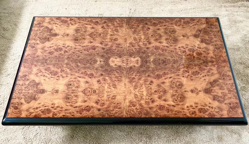 Belle Table Basse Design Jean-pierre Mesmin Années 80 En Loupe d'Orme Et Bois Laqué-photo-4
