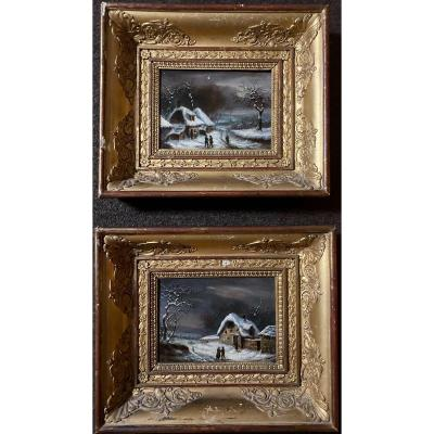 Pair Of Paintings Signed Alphonse Cassard Around 1830 With Fine Period Frames