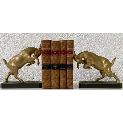 Pair Of 1930s Bookends With Ibex In Bronze With 2 Patinas