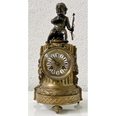 Cupid Clock Louis XVI Style Bronze With 2 Patinas Movement From Philippe At The Royal Palace