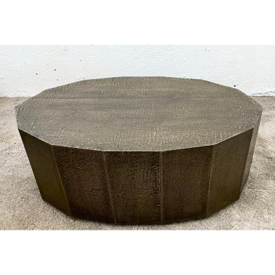 Unique Piece Coffee Table Gaétan Coulaud Hammered Metal Design