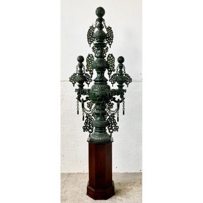Monumental Brule Parfum Chine En Jade Aux Dragons Hauteur 136 Cm