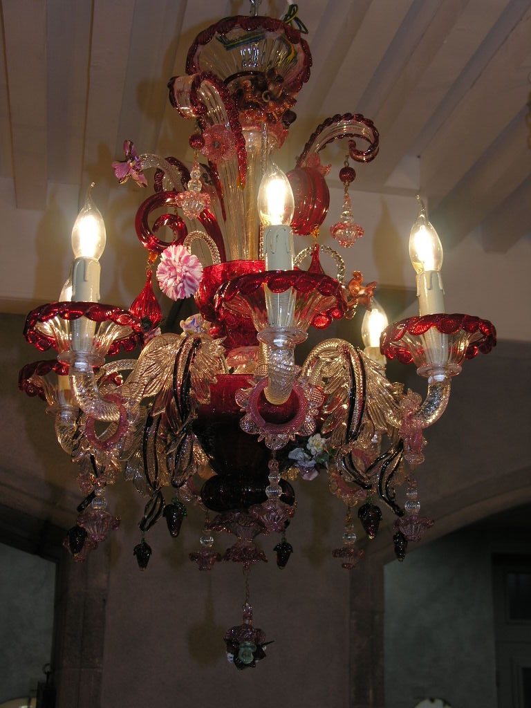 Stunning Murano Chandelier In Perfect Condition And Completely Revised, 6 Branches