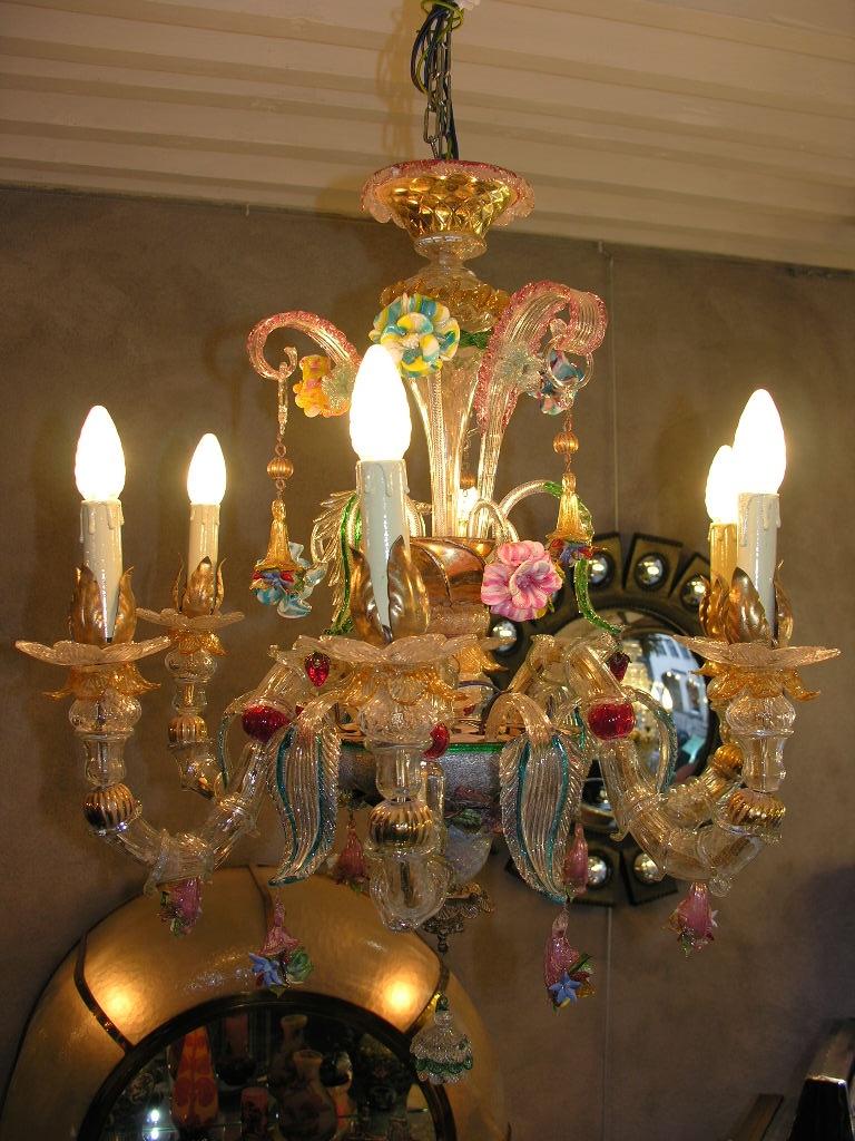 Beau Lustre Murano à 6 branches entièrement révisé