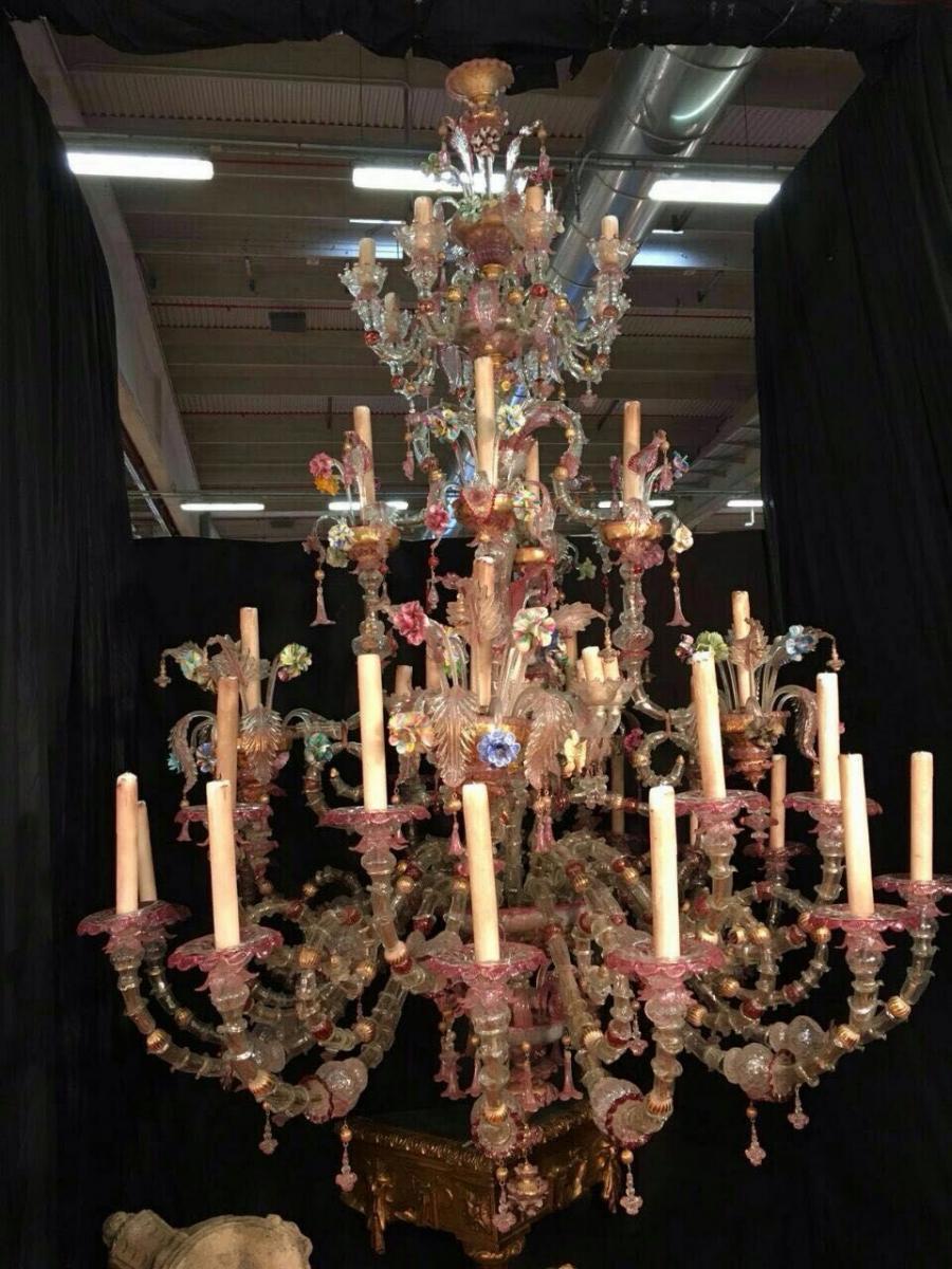 Très Très Grand Lustre Murano 40 Lumières-photo-3