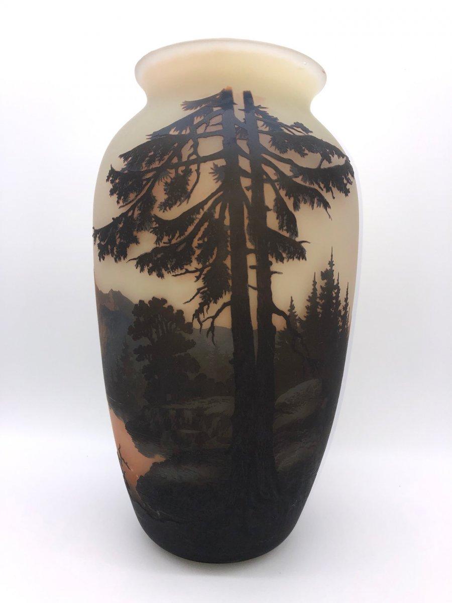 Very Large Muller Frères Luneville Vase 42 Cm