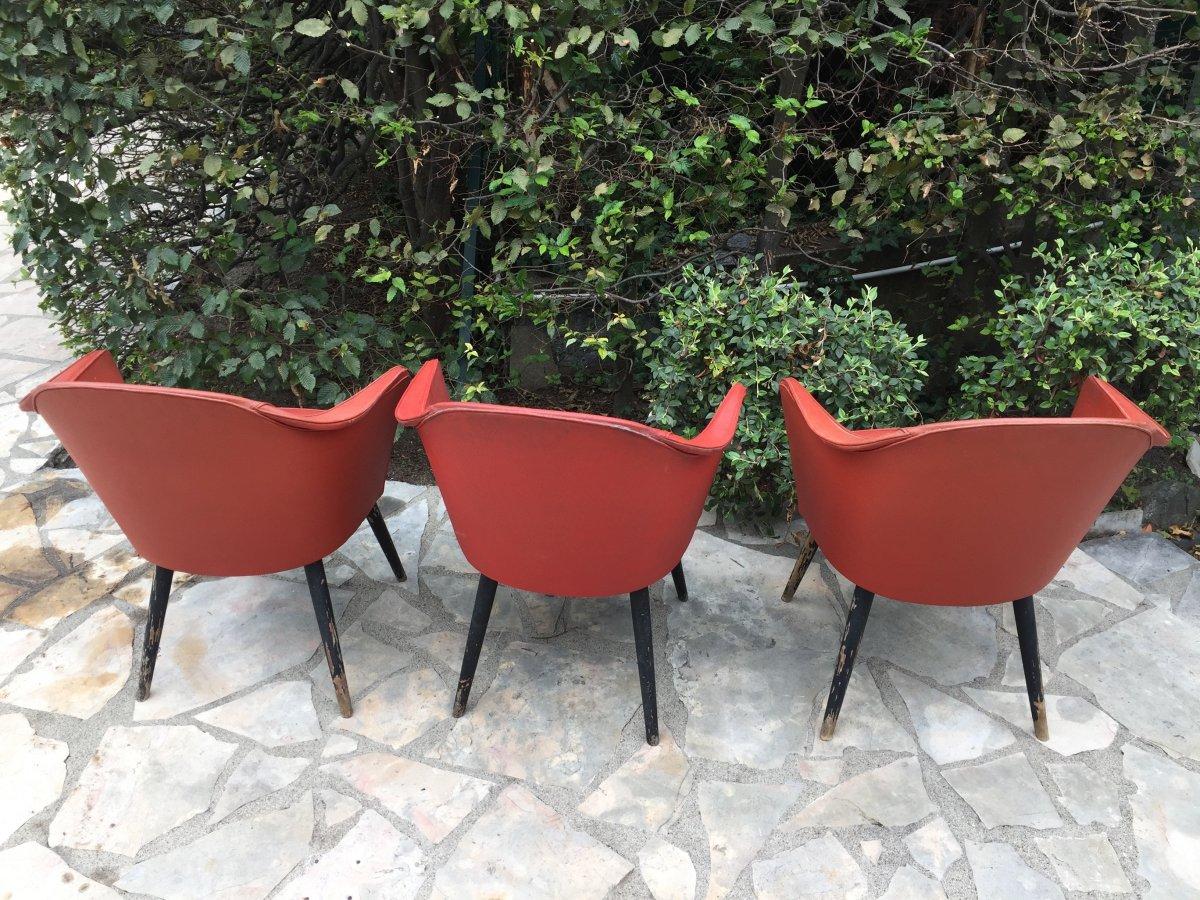 Ensemble De 3 Fauteuils Rouge Années 1960
