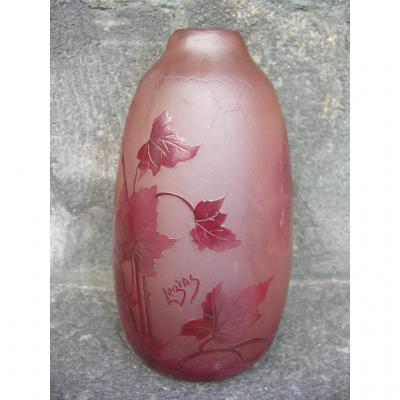 "Vase Signed ""legras"" Ruby Floral Decor"