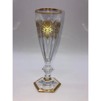 1 Flûte à Champagne Cristal Baccarat Harcourt Empire Or