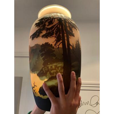 Très Grand Vase Muller Frères Luneville 42 Cm