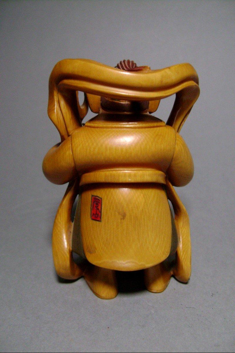Ivory Okimono. Bishamon, God Of Happiness And War. Japan Meiji Period (1868-1912)-photo-3