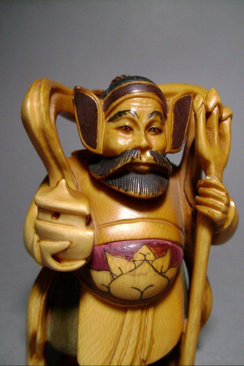 Ivory Okimono. Bishamon, God Of Happiness And War. Japan Meiji Period (1868-1912)-photo-1