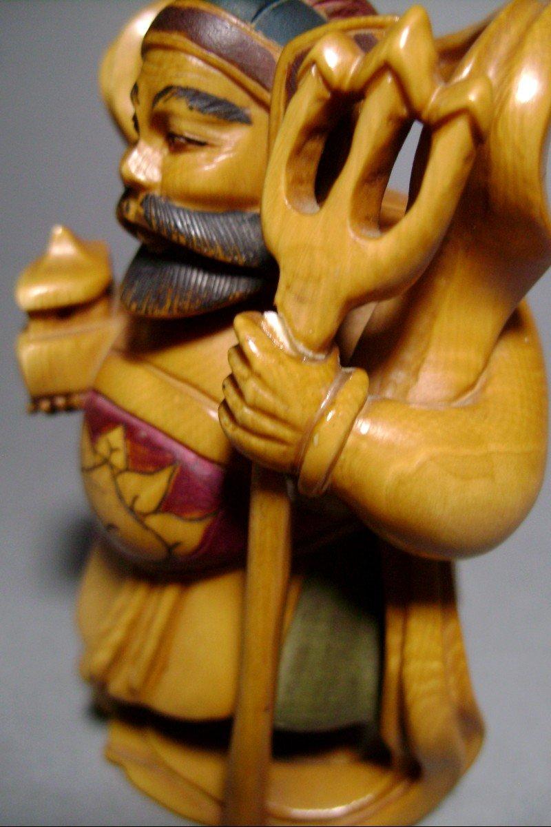 Ivory Okimono. Bishamon, God Of Happiness And War. Japan Meiji Period (1868-1912)-photo-2