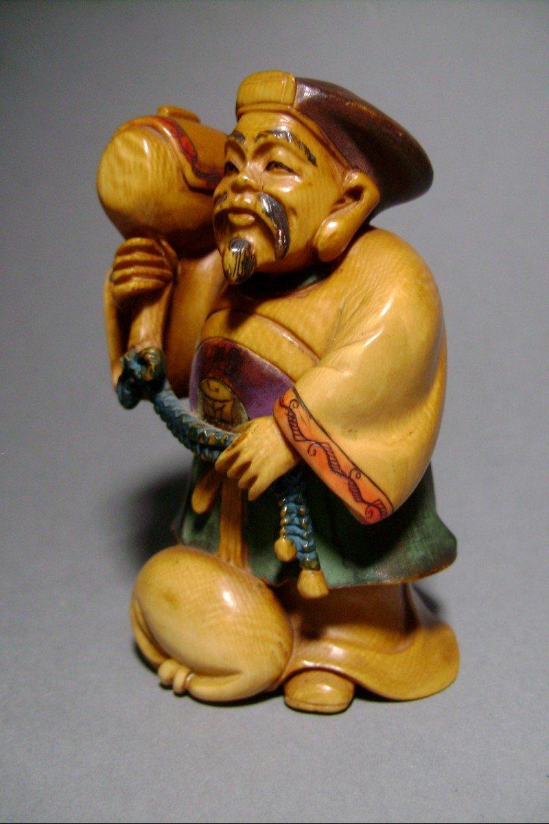 Ivory Okimono. Daikoku, God Of Wealth. Japan Meiji Period, 1900.-photo-2