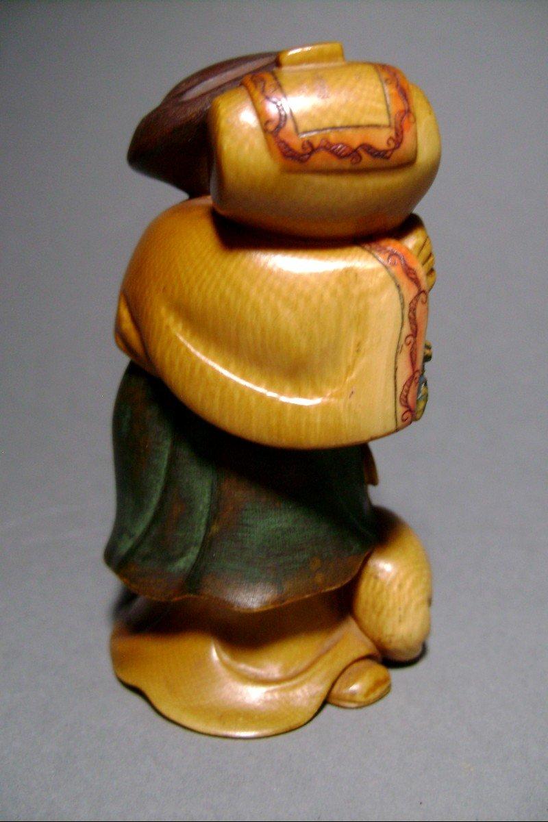 Ivory Okimono. Daikoku, God Of Wealth. Japan Meiji Period, 1900.-photo-1