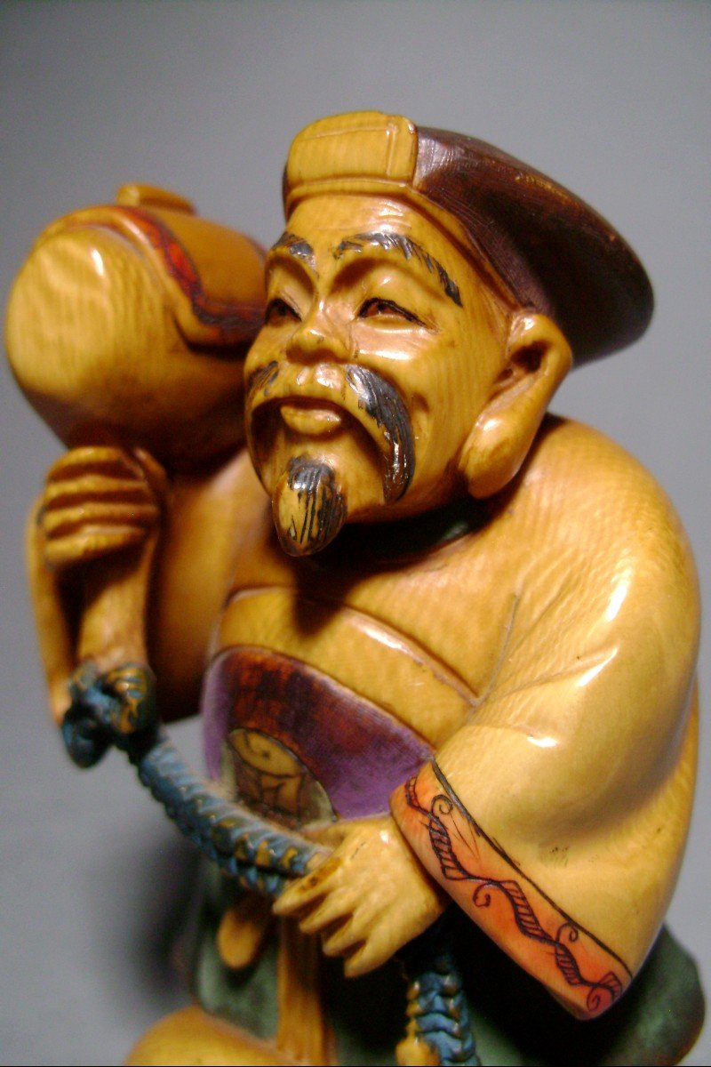 Ivory Okimono. Daikoku, God Of Wealth. Japan Meiji Period, 1900.-photo-3