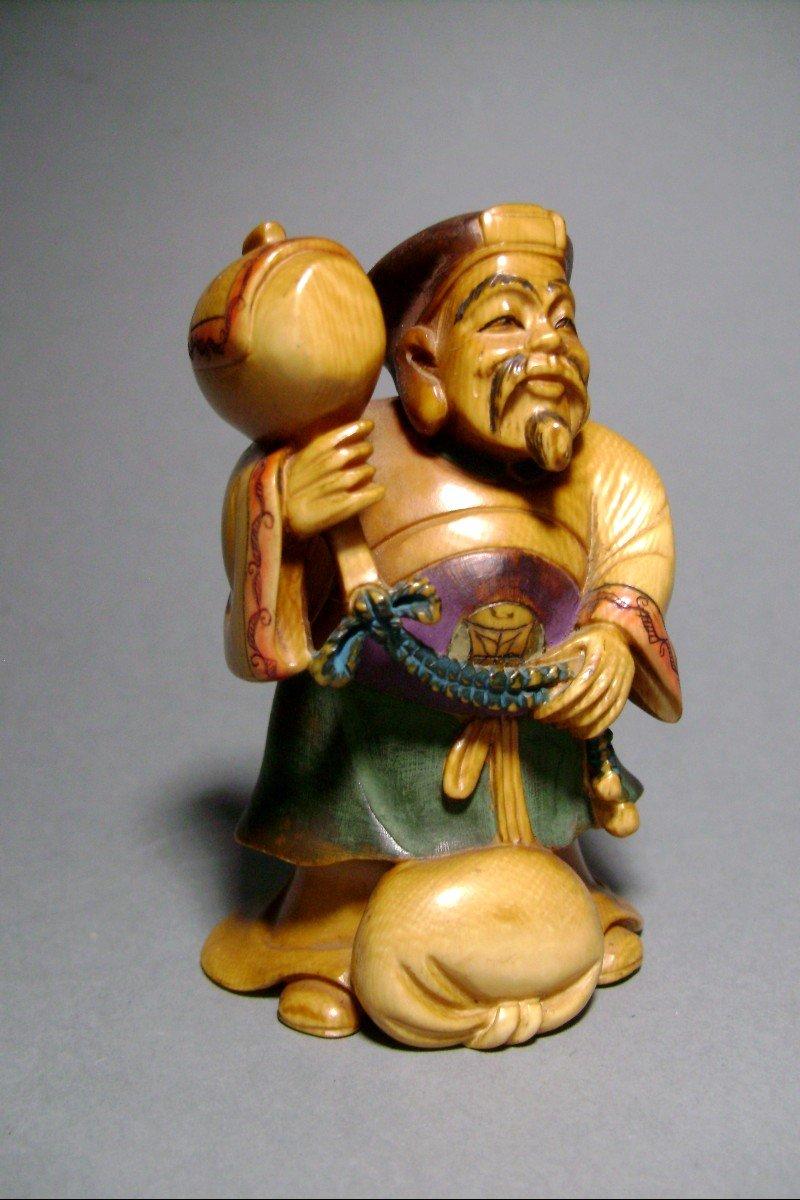 Ivory Okimono. Daikoku, God Of Wealth. Japan Meiji Period, 1900.