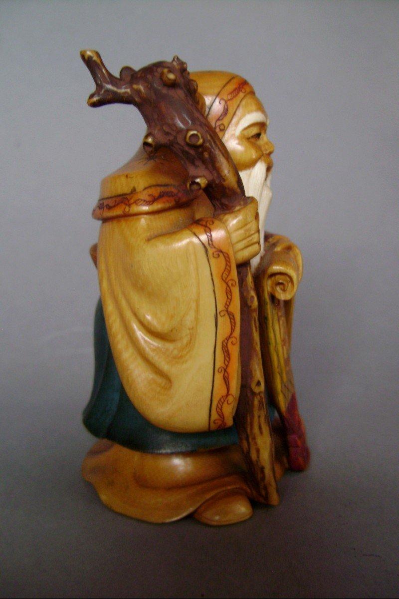 Okimono en ivoire Jurojin, Dieu de la longévité. Japon époque Meiji ( 1868-1912 )-photo-1
