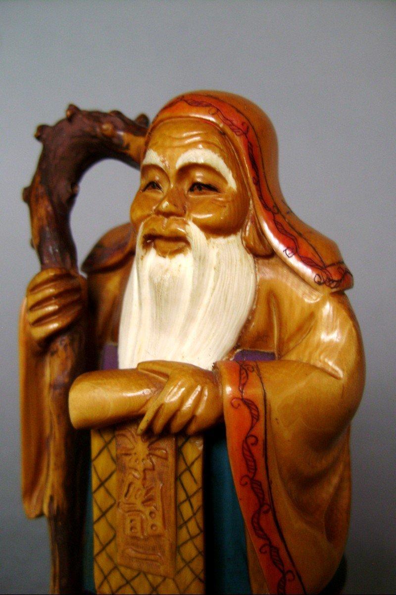 Okimono en ivoire Jurojin, Dieu de la longévité. Japon époque Meiji ( 1868-1912 )-photo-2