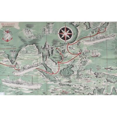 Affiche De La Compagnie De Navigation Des Messageries Maritimes.