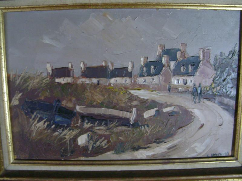Oil On Canvas. Guy l'Hostis, Painter Of The Navy. Brittany. The Village Of Larmor-pleubian.-photo-2