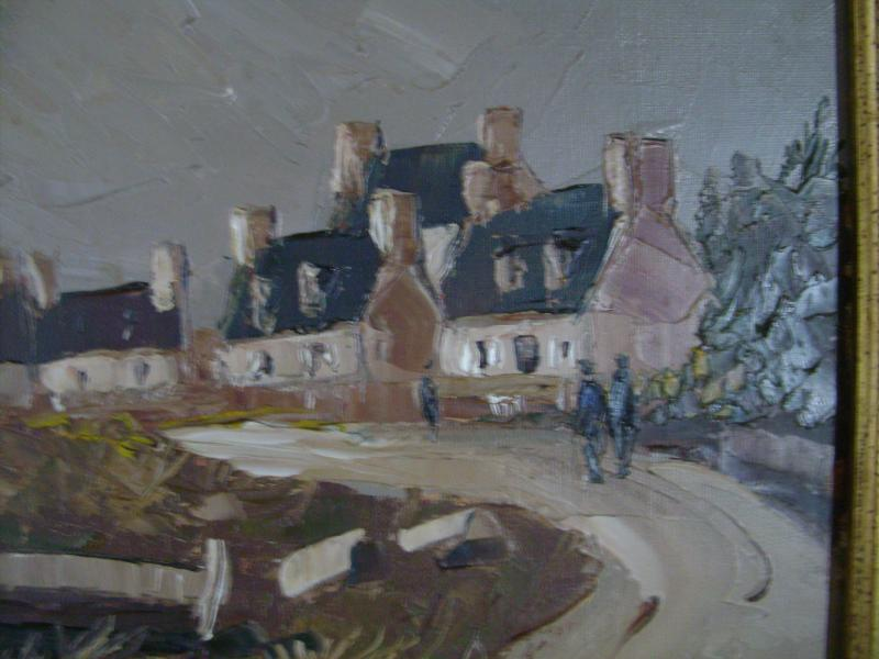 Oil On Canvas. Guy l'Hostis, Painter Of The Navy. Brittany. The Village Of Larmor-pleubian.-photo-3