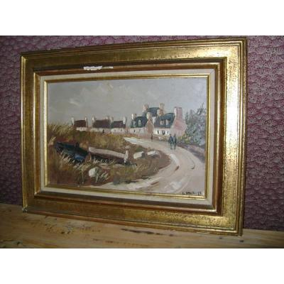 Oil On Canvas. Guy l'Hostis, Painter Of The Navy. Brittany. The Village Of Larmor-pleubian.